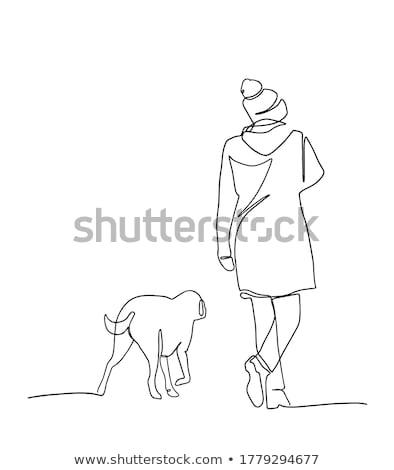 man and woman walking the dog Stock photo © nito