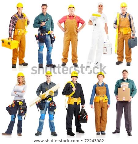 Construção empregado homem branco caminhada trabalhando Foto stock © Lopolo