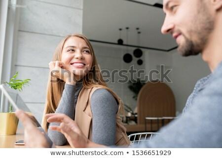 Zdjęcia stock: Szczęśliwy · młodych · blond · kobieta · chłopak · touchpad