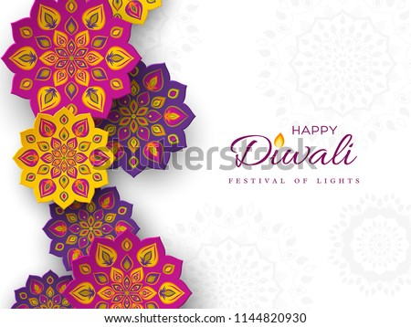 white diwali background with purple diya design Stock photo © SArts