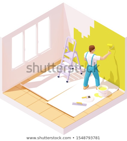 Vector isometric painter painting room wall Stock photo © tele52