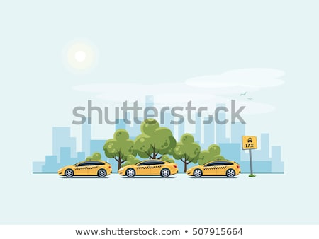 Yellow Cab Driving at Street of Modern City Vector Stock photo © robuart