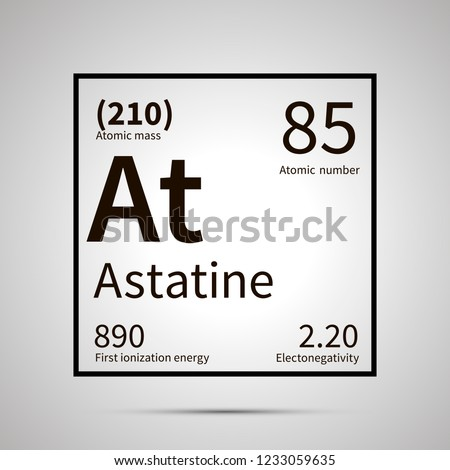 Astatine chemical element with first ionization energy, atomic mass and electronegativity values ,si Stock photo © evgeny89