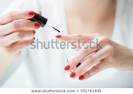 Mulher vermelho unha polonês unhas Foto stock © stuartmiles