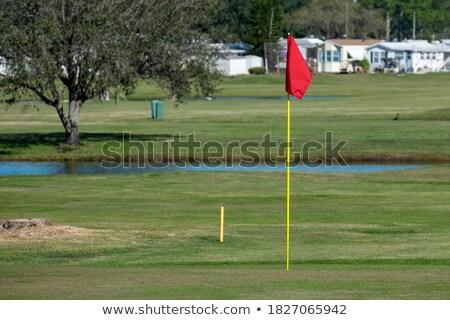 golf · mező · citromsárga · zászló · tavacska · égbolt - stock fotó © goce