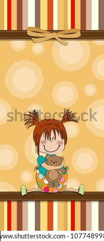 Aranyos születésnap üdvözlőlap lány plüssmaci boldog Stock fotó © balasoiu