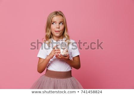 bambina · mangiare · jar · ragazza · modello · bocca - foto d'archivio © photography33