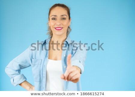 gülen · genç · kadın · palmiye · bakıyor · beyaz - stok fotoğraf © pablocalvog