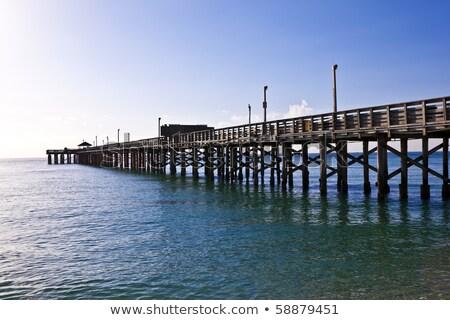 Houten pier Miami strand hemel Stockfoto © meinzahn