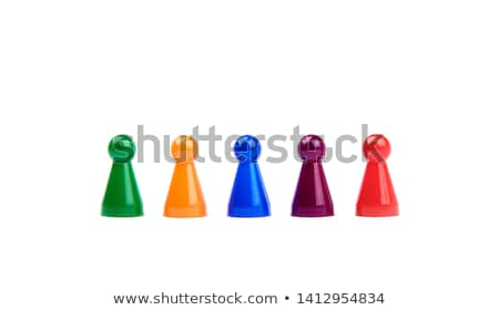 Five colored pawns isolated on a white background Stock photo © michaklootwijk