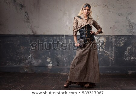 Steampunk girl over grunge background Stock photo © Nejron