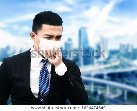ストックフォト: ビジネスマン · パニック · 男 · 表 · デスク · ランプ