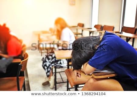 молодые колледжей школу студент спящий таблице Сток-фото © jarenwicklund