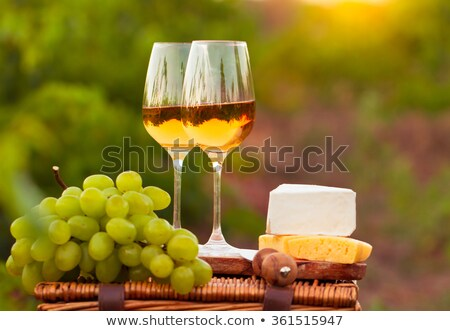 various sorts of cheese grapes and two glasses of the white win stock photo © dashapetrenko