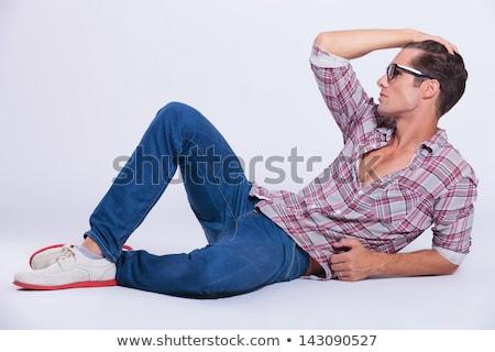 ファッション · 男 · 座って · 髪 · クール - ストックフォト © feedough