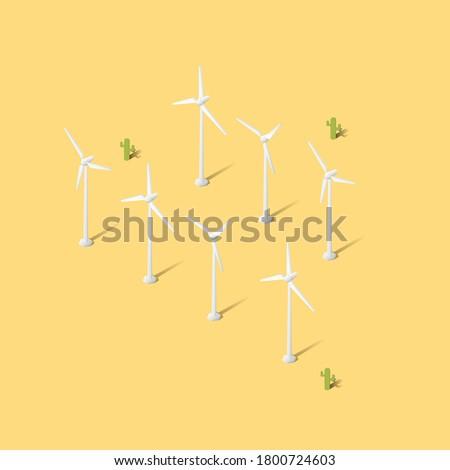 Stock photo: Clean Green Energy Wind Turbines Alternative Desert Power