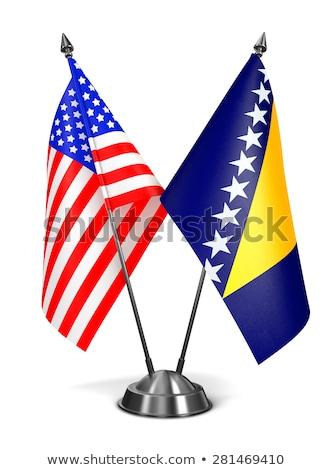 EUA Bósnia-Herzegovina miniatura bandeiras isolado branco Foto stock © tashatuvango