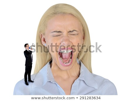 business woman looking shocked on little man stock photo © fuzzbones0