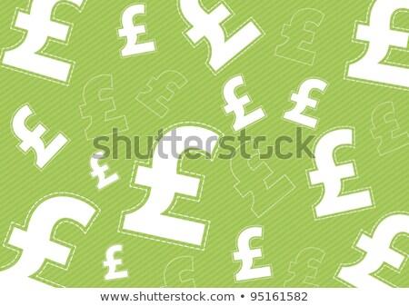 Funt podpisania zielone wektora ikona projektu Zdjęcia stock © rizwanali3d