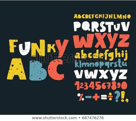 Wektora alfabet funky litery chrzcielnica sztuki Zdjęcia stock © rommeo79