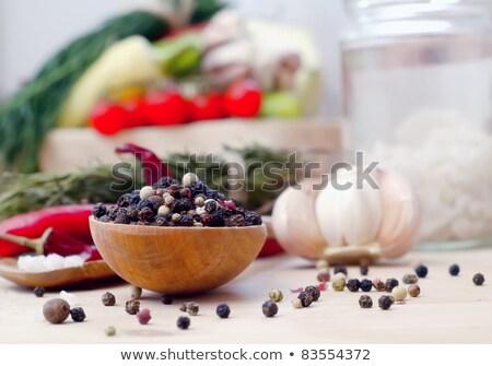白 塩 木製のテーブル 食品 ストックフォト © dolgachov