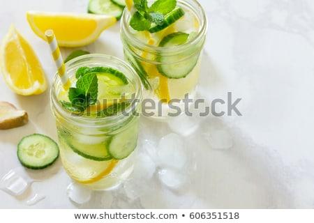 Detoxikáló víz citrom uborka fa üveg Stock fotó © M-studio