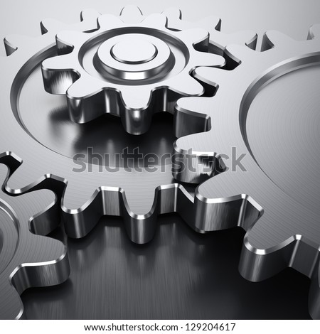gear wheel on reflective surface - 3d rendering Stock photo © drizzd