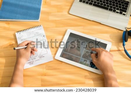 Sitio web bloc de notas pluma fondo web escritorio Foto stock © fuzzbones0