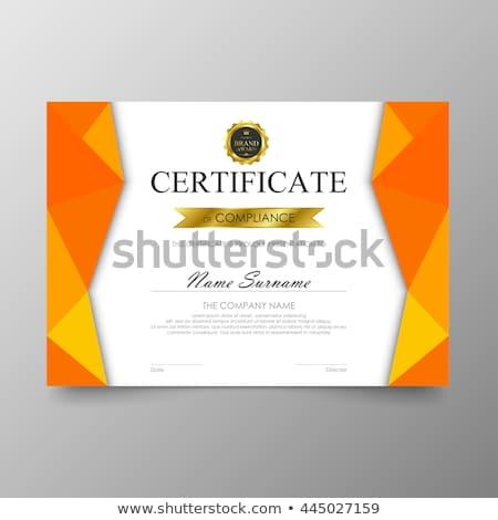 Moderne oranje certificaat prestatie sjabloon ontwerp Stockfoto © SArts
