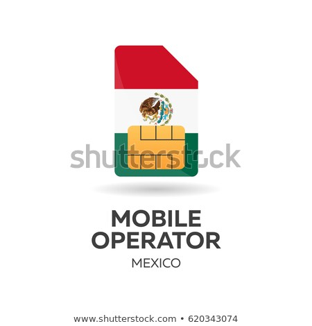 Mexico mobile operator. SIM card with flag. Vector illustration. Stock photo © Leo_Edition