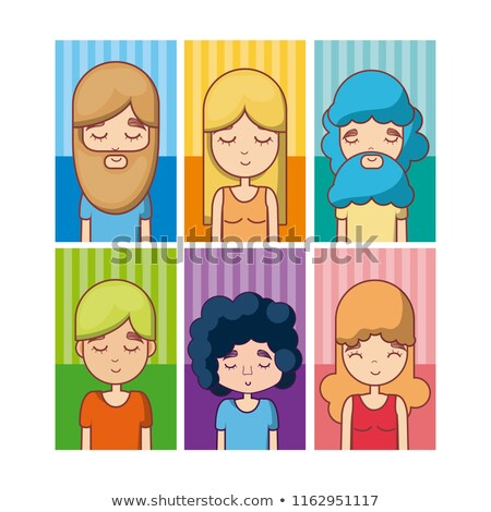 Caucasian hippie woman vector illustrations set. Stock photo © RAStudio
