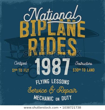 Klasszikus kézzel rajzolt grafikai tervezés kétfedelű repülőgép idézet repülés Stock fotó © JeksonGraphics