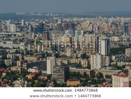 the central part of kiev ukraine with modern and old historic buildings photo from the drone stock photo © artjazz