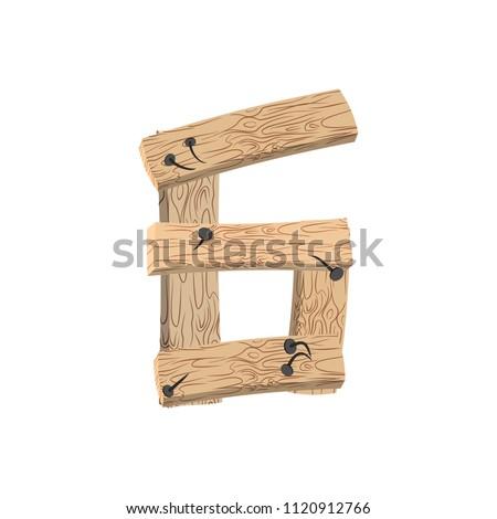 Numer drewna pokładzie chrzcielnica sześć symbol Zdjęcia stock © popaukropa
