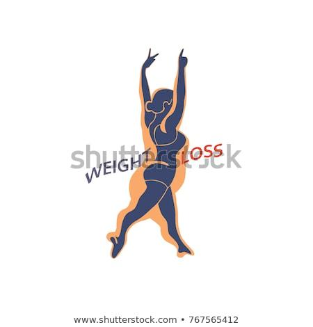 Fogyókúra modern rajzolt emberek betűk illusztráció izolált Stock fotó © Decorwithme