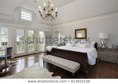 Foto stock: Mestre · quarto · interior · marrom · casa · parede