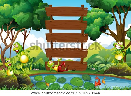 Frog and wooden sign at the pond Stock photo © colematt
