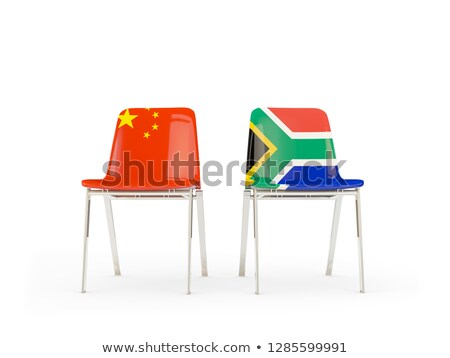 Two chairs with flags of China and south africa isolated on whit Stock photo © MikhailMishchenko