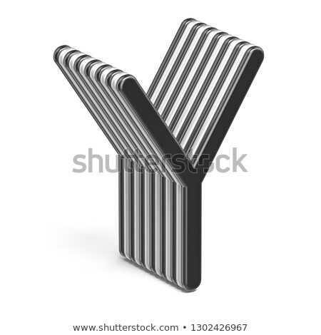 Black and white layered font Letter Y 3D Stock photo © djmilic