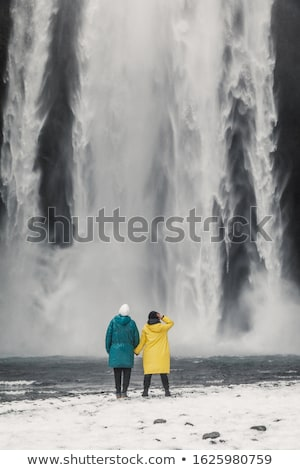 Turista vízesés Izland külső hatalmas turisztikai attrakció Stock fotó © Kotenko