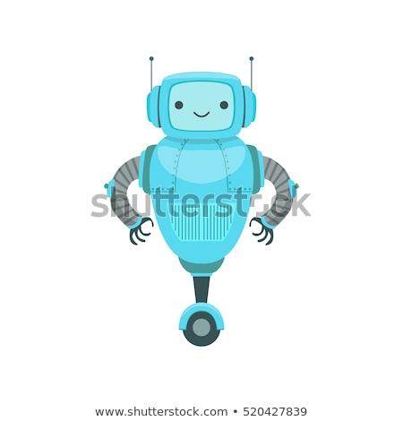 fantasy blue robot or droid cartoon character Stock photo © izakowski