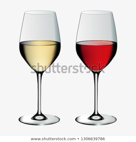 Foto stock: Realistic Glass With Red And White Wine Vector
