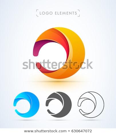 isolated abstract round shape orange color logo sun and wave logotype vector illustration isolated stock photo © kyryloff