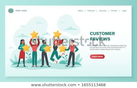 vásárló · visszajelzés · leszállás · oldal · vásárlók · laptop - stock fotó © rastudio