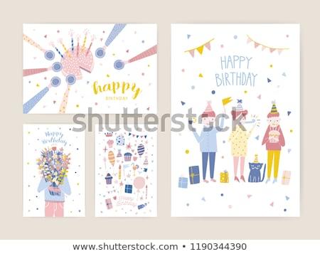 Gelukkige verjaardag ansichtkaarten mannen vrouwen geschenken feestelijk Stockfoto © robuart