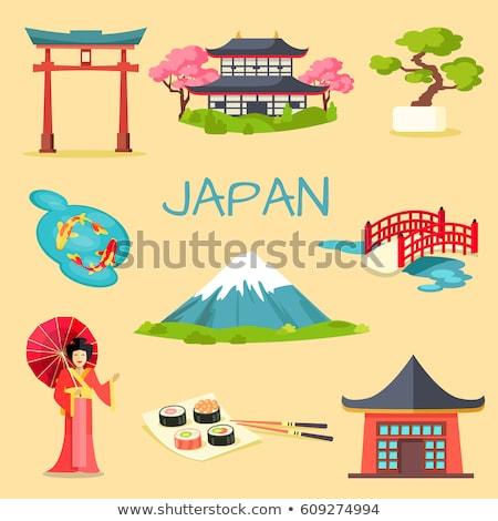 Stock fotó: Japán · turisztikai · szimbólumok · japán · pagoda · cseresznyevirágzás