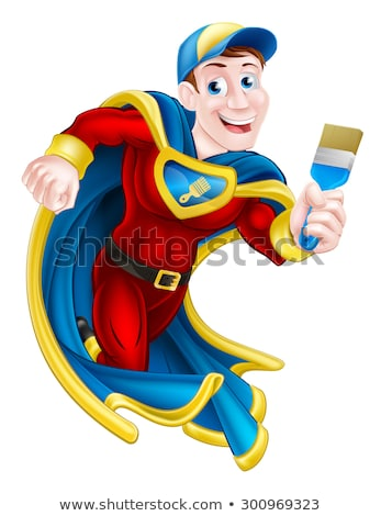 Super Hero Painter Decorator Holding Paintbrush Stock photo © Krisdog