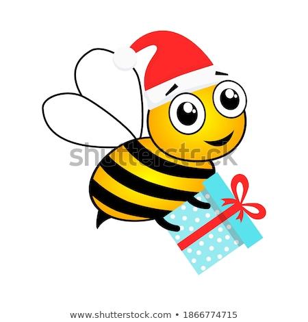 Honey Bumble Bee in Santa Christmas Hat Cartoon Stock photo © Krisdog