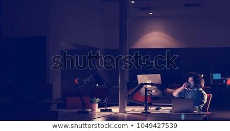 Werken laat nacht meervoudig computer Stockfoto © AndreyPopov