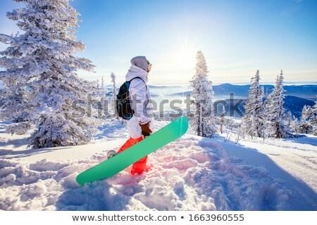 Eine Frau Winter Wald Baum Schnee Mädchen Stock foto © ElenaBatkova